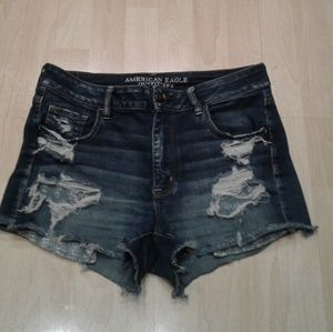 American Eagle 14 hi rise shortie destroyed jean